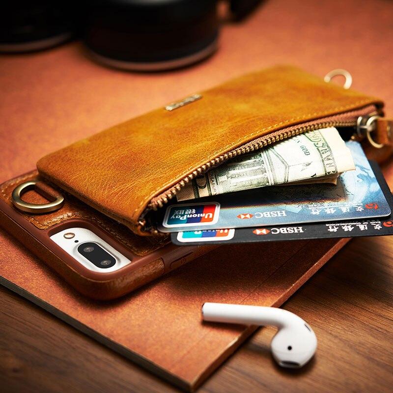 bilder für 2017 neue ankunft 2in1 brieftasche echt leder case für iphone 6 s 7 6 für iphone 7 6 6 s plus reißverschluss gürtelclip pouch