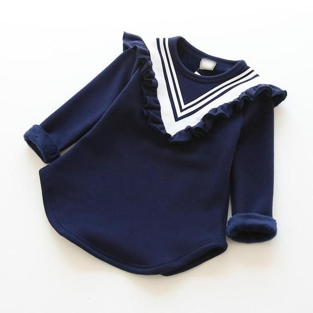 High Quality Navy Style Collar Girls Long Fleeced T Shirts Winter Girls Sweater Clothing Baby Girls 2017 Brand New 2-8Y
