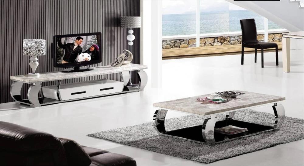 ensemble de meubles en acier inoxydable et marbre table basse et meuble tv design moderne duree meubles de mode maison yq130