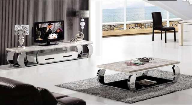Rvs Tv Kast.Rvs En Marmeren Meubels Set Salontafel En Tv Kast Moderne Ontwerp