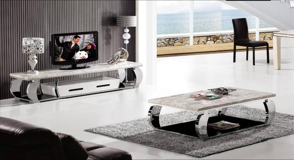 Stainless Steel And Marble Furniture Set, Coffee Table And TV Cabinet  Modern Design Duration Home