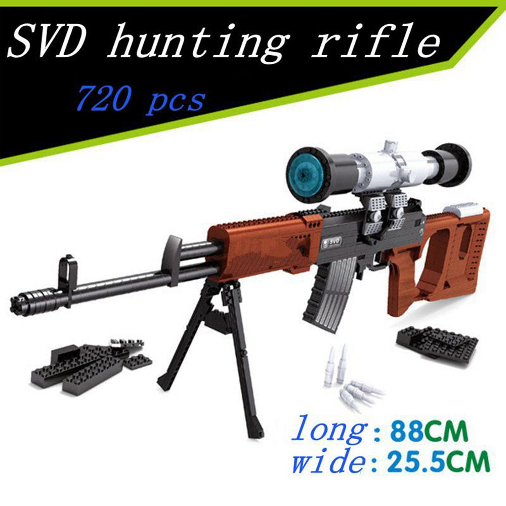 1:1 3D 712pcs SVD Sniper Sniper GUN Weapon Arms Model Model Brick Gun Building Block Set Toy Gift For Children