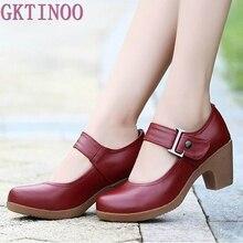 Женские туфли из натуральной кожи, с круглым носком, размеры 32 42