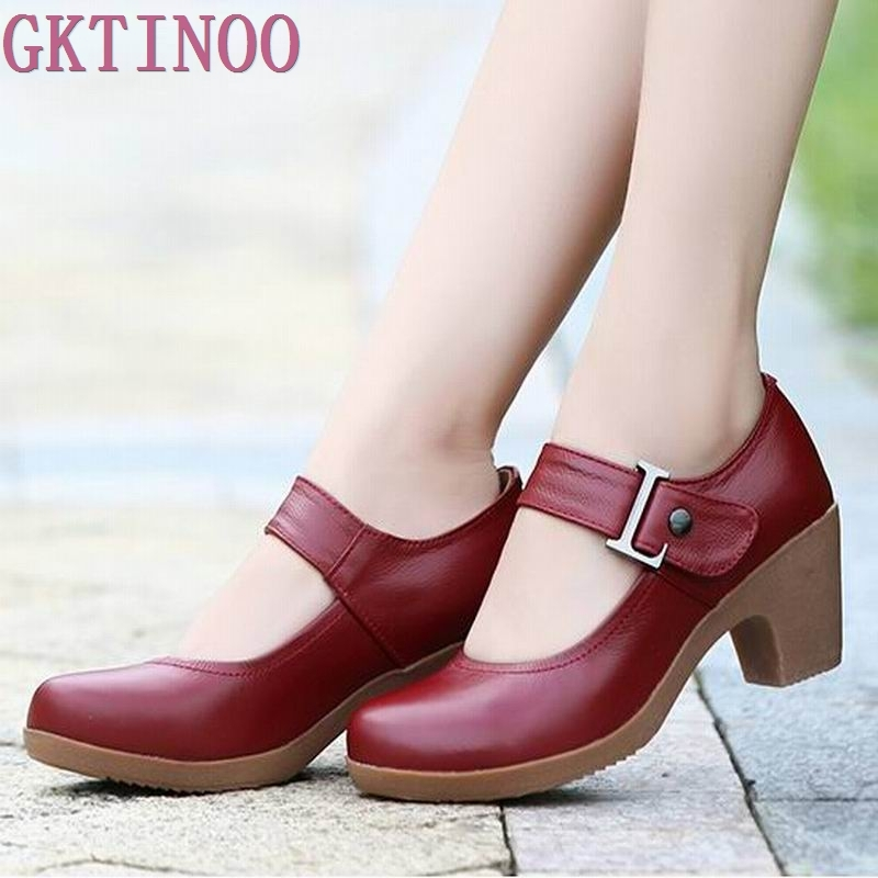 2019 Spring Autumn Shoes Woman 100% Genuine Leather Women Pumps Lady Leather Round Toe Platform Shallow Mouth Shoes Size 32-42