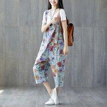 Women Floral Printed Jumpsuits Ladies Loose Casual Flowers Print Denim Overalls Pants Female Vintage Rompers Playsuit