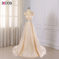 Real Photos Tulle Crystal Bling Champagne Color Party Occasion Formal Long Evening Dress 2018