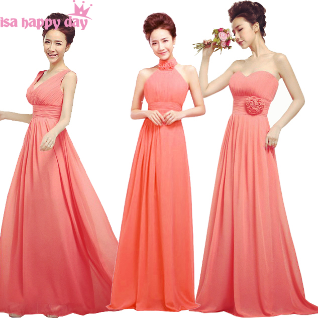 d638073f3305 bridesmaid braids made dresses special occasion beautiful floor long  elegant chiffon party gowns watermelon coral color dress
