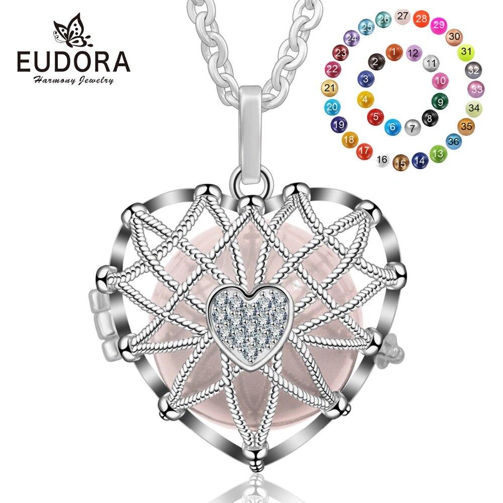 Eudora 20mm Color plata Harmony Bola amor corazón medallón jaula colgante ajuste DIY Bola collar joyería para las mujeres K245N20