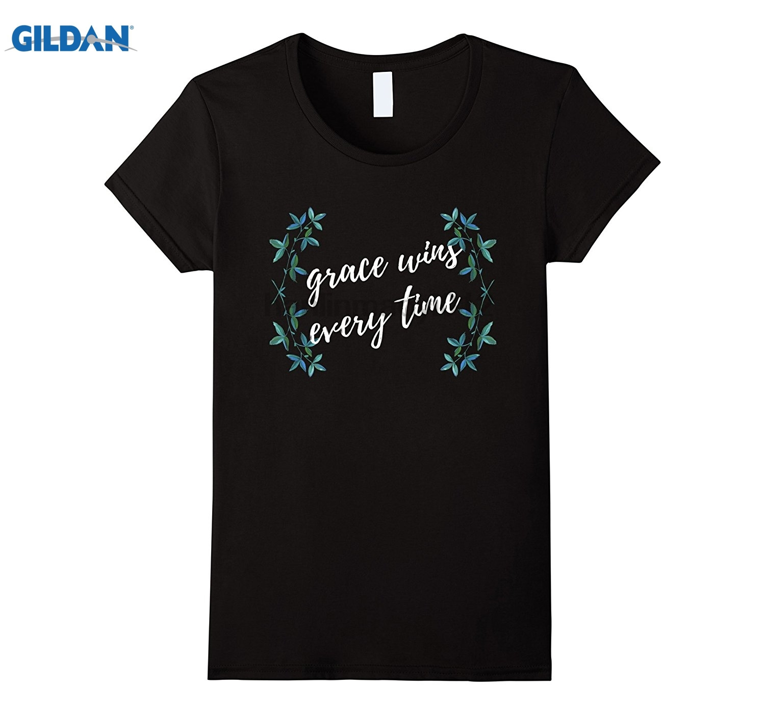 GILDAN Inspiring Christian T-Shirt Grace Wins Every Time Tee Hot Womens T-shirt
