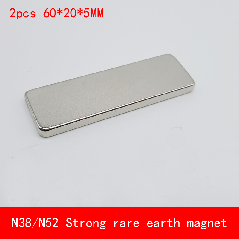 2PCS 60x20x5mm N52 Super Strong Rare Earth neodymium Magnet Permanent N38 N52 Magnets 60*20*5MM earth 2 society vol 4 life after death