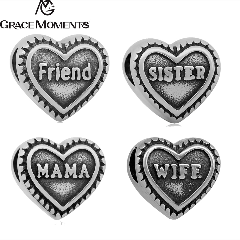 5pcs/Lot 316L Stainless Steel Heart Shape Friend Mama Big Holes Spacer Beads Fits European Charm Bracelets For Jewelry Making
