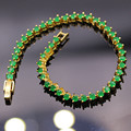 Fashion Jewelry Created Emerald Yellow Gold Plated Green Zircon Bracelets Bangles For Women Gifts  Fashion Lady Jewelry L03-1