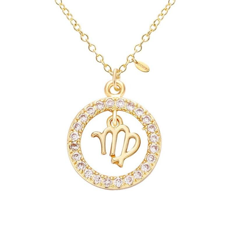 33c392667dd1 12 estrellas Zodiaco signos constelación collar horoscopio astrología  redondo Virgo colgante ...