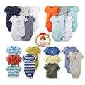 3 pçs/lote estilo verão do bebê meninos chilren boy clothing corpo bodysuit de algodão de manga curta criança verão 1 peça, 369121824 m