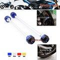 Para SUZUKI GSR750 2011-2014 Acessórios Da Motocicleta Frente & Roda Traseira Eixo Fork Crash Sliders Protector Azul