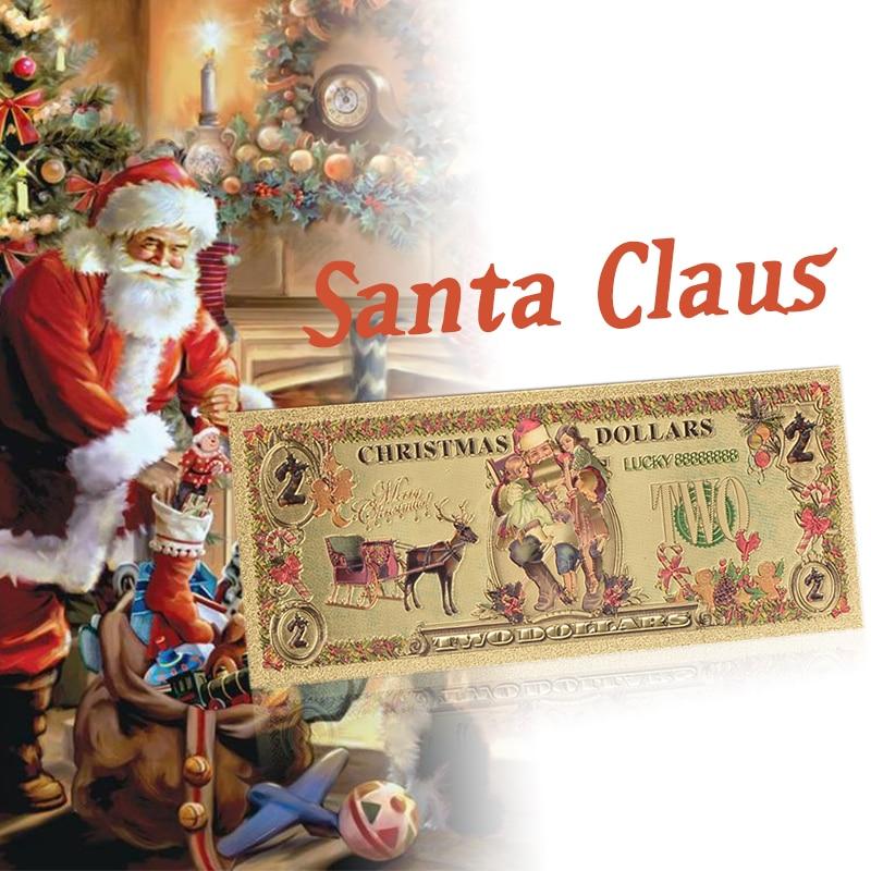 WR Санта Клаус Золотая фольга банкноты красочные $2 доллара Золотая Банкнота с пвх рамкой Рождественский подарок Позолоченные банкноты