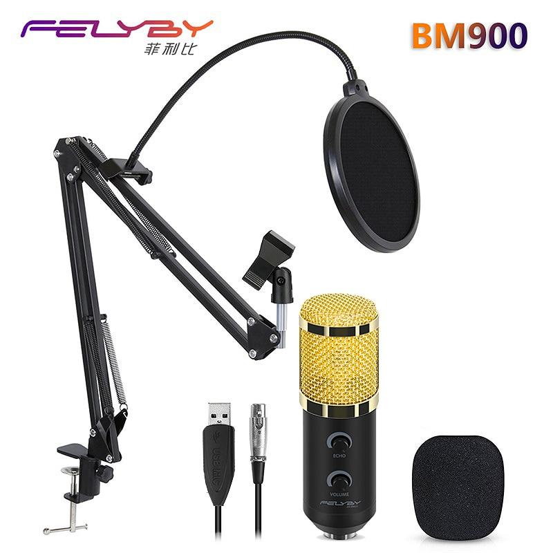 CALDO!!! FELYBY bm 800 aggiornato bm 900 Studio Professionale A Condensatore USB Microfono per Computer di Registrazione Video Mikrofon