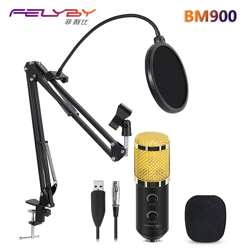 HOT!!! FELYBY bm 800 upgraded bm 900 Professional Studio Karaoke USB Condenser Microphone for Computer Video Recording Mikrofon  hot full set metal condenser microphone bm 800 bm 800 48v phantom power u type usb sound card studio mic computer microphone