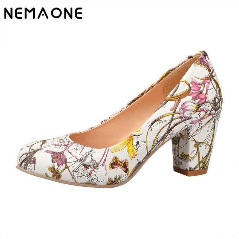 NEMAONE High Heels Women Shoes Heels Round Toe Square Heels Female Pumps Cheap Work Shoes Womens Yellow Red Large size 9 10