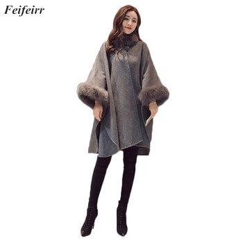 Feifeirr Fashion Ponchos cloak shawl woolen coat female 2018 Autumn Winter New British temperament long Loose warm Blend Coat