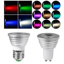 3W LED RGB Light Bulb E27/GU10 Remote Control RGB Lamp Bulb Dimmable Spotlight Bulb Lamp lampada led AC85-265V mi light dimmable led bulb 4w gu10 rgb cct 2700 6500k led lamp indoor decoration 2 4g rf led remote control
