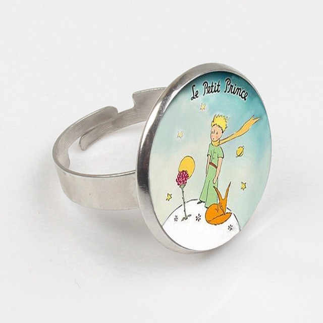 Artoon Anime Pangeran Kecil Cincin Pangeran Kecil Kertas Film Perhiasan Cincin Kubah Kaca untuk Anak