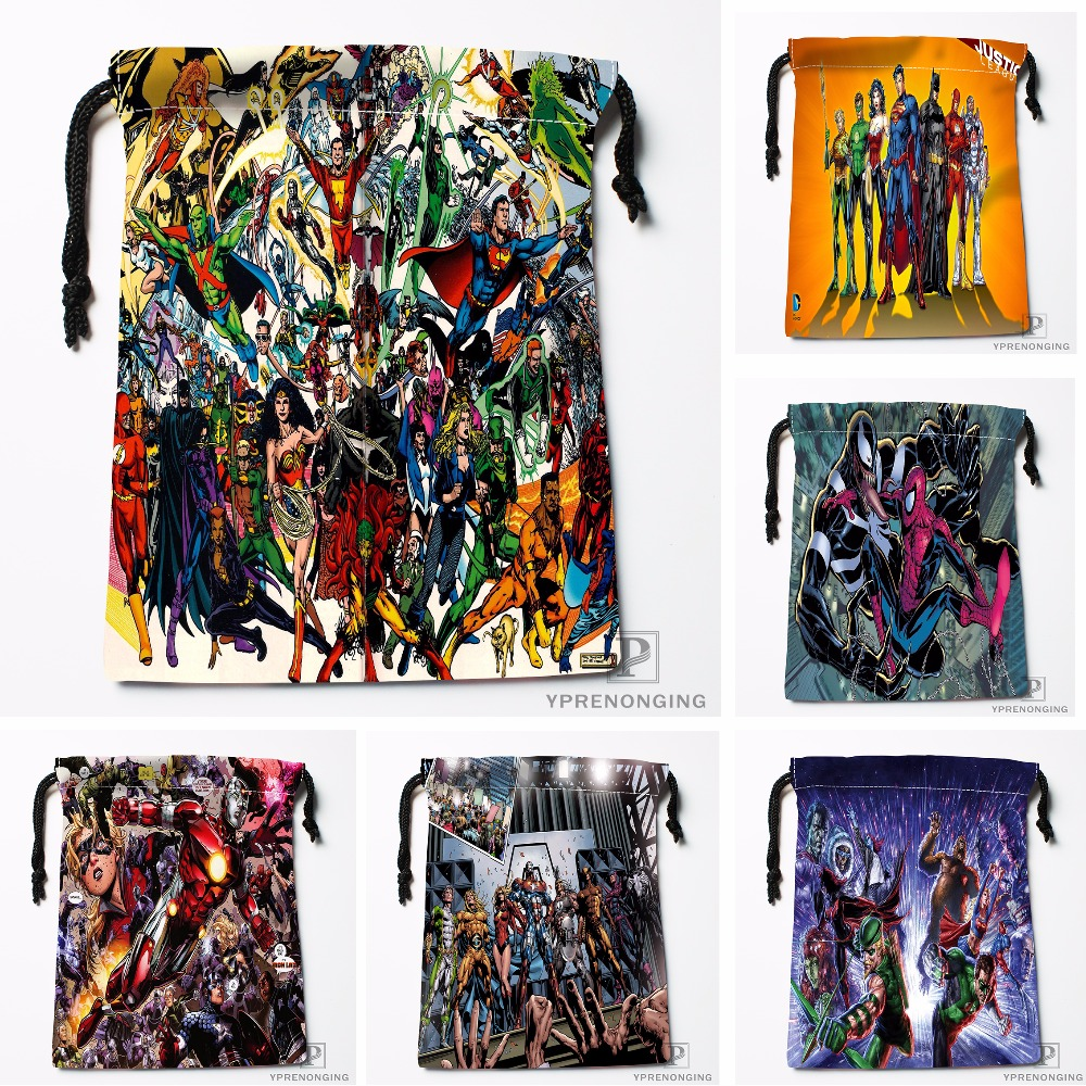 Custom The Avengers Drawstring Bags Travel Storage Mini Pouch Swim Hiking Toy Bag Size 18x22cm#0412-11-111