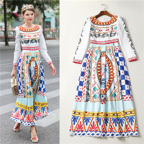 Female Novelty Dresses Top shop 2018 Early Spring Women Elegant Vintage Pattern Print Long sleeve Maxi Long Dresses Bohemian XL
