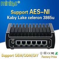 Pfsenseコンピュータインテルkaby湖celeron 3865uデュアルコアファンレスミニpc 6ギガビットlanファイアウォールルーターサポートAES-NI 4 * usb3.0