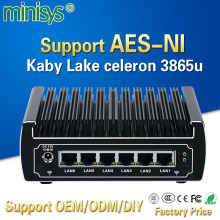 pfsense computers intel kaby lake celeron 3865u dual core fanless mini pc 6 gigabit lans firewall router support AES-NI 4*USB3.0