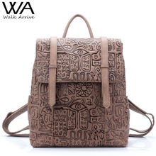 Walk Arrive Genuine Leather Women Backpack Oracle Embossed Cow Leather Vintage School Bag Fashion Travel Bag