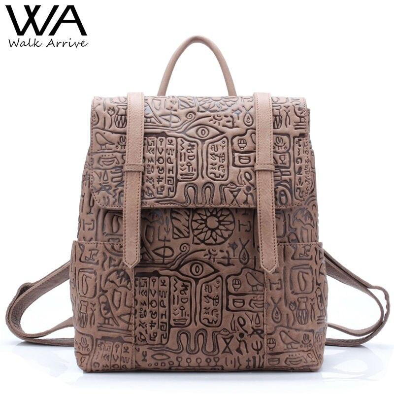 Walk Arrive Genuine Leather font b Women b font font b Backpack b font Oracle Embossed