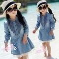 Crianças Menina roupas vestido da criança infantil Do Bebê meninas vestido de algodão denim vestido de manga longa