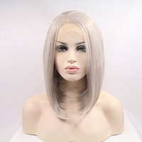 Fantasy Beauty Ash Blonde Short Bob Hair Women Wigs Silver Platinum Short Straight Synthetic Lace Front Wigs Heat Resistant