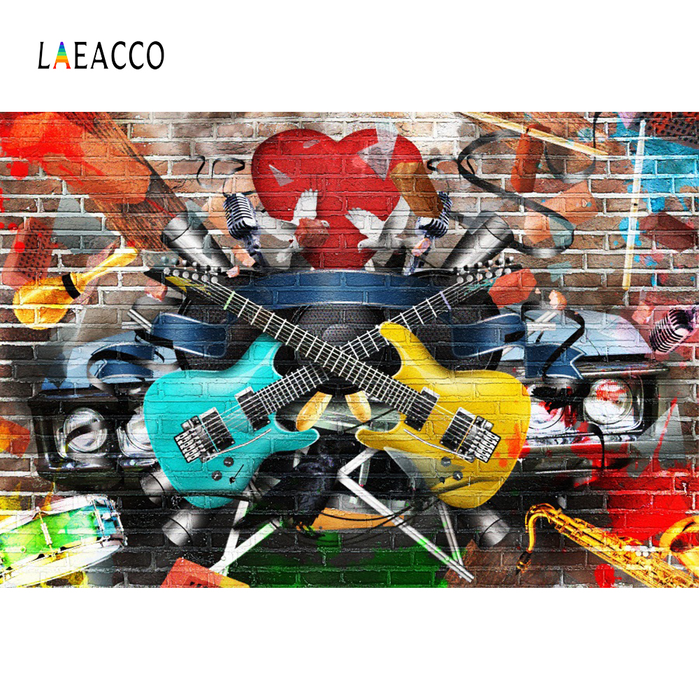 Laeacco Brick Wall Photophone Graffiti Guitar Instrument Photography Backdrops Music Disco Party Photo Backgrounds Photo Studio image