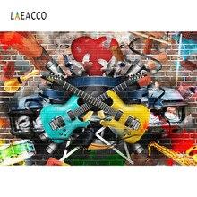 Laeacco Graffiti Brick Wall Music Child Guitars Photography Backgrounds Customized Photographic Backdrops For Photo Studio
