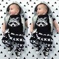 Новый 2016 Мода Лето Детская Одежда Мальчика Хлопок Лиса Напечатаны Футболки + брюки Мальчика Комплект Одежды Девушки Моды Младенческой 2 шт. Костюм