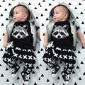 Nuevo 2016 de Moda de Verano Bebé Ropa de Algodón Fox Impreso T-Shirt + Pants Del Bebé Que Arropan Muchachas de La Manera Infantil 2 unids Traje