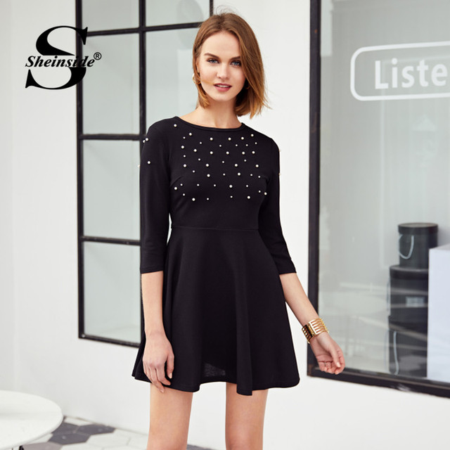 0dd451b134816 Sheinside Pearl Embellished Party Dress Zip Fit & Flare Women Black 3/4  Sleeve Skater