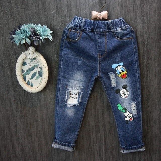 Оптовая (5 копий/LOS)-2017 Весной и Осенью персонализированные мультфильм джинсы Деминг брюки ребенок девушки размер 100-140