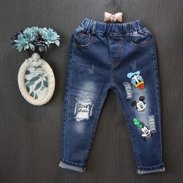 Venta al por mayor (5 copias/LOS)-2017 la Primavera y el Otoño de dibujos animados personalizados pantalones vaqueros Deming viejo niño de la muchacha tamaño 100-140