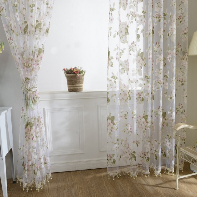 Transparent Room Divider Drape Scarfs Window Curtain Floral Tulle
