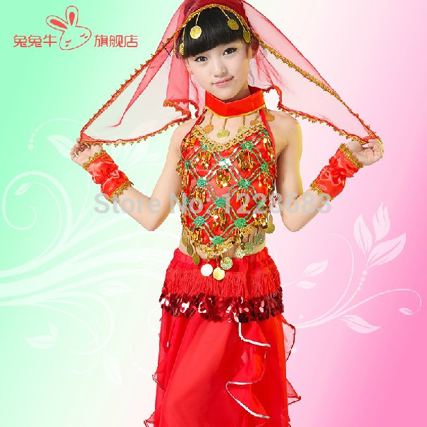 Child Kid Girl Oriental Dancing Vestido Indiano Sari Indian Clothes Danca Do Ventre Indian Clothing Costume De Danse Orientale индийский костюм для танцев девочек