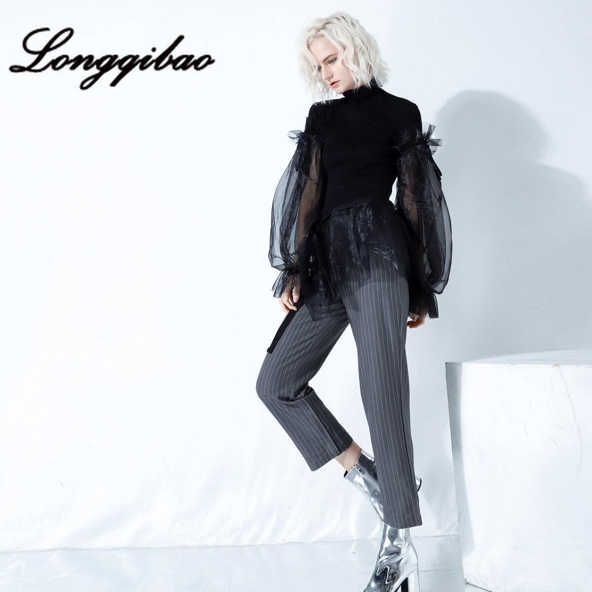 Longqibao Women's Clothing Stand Collar Knit Splicing Organza Perspective Fluffy Sleeve Hem Ruffle Fashion Personality Sweater
