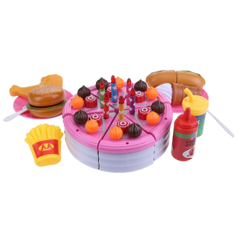 DIY Fruit Cutting Birthday Cake Kids Baby Pretend Cooking Play Simulation Kitchen Food T ...