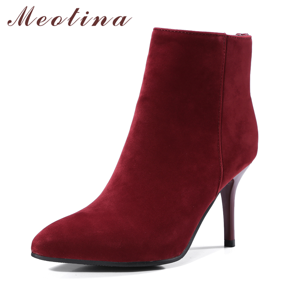 Meotina Women Ankle Boots High Heels Pointed Toe Winter Shoes Rivet Zipper 2018 Autumn Short Boots Stiletto Red Big Size 33-43 ...