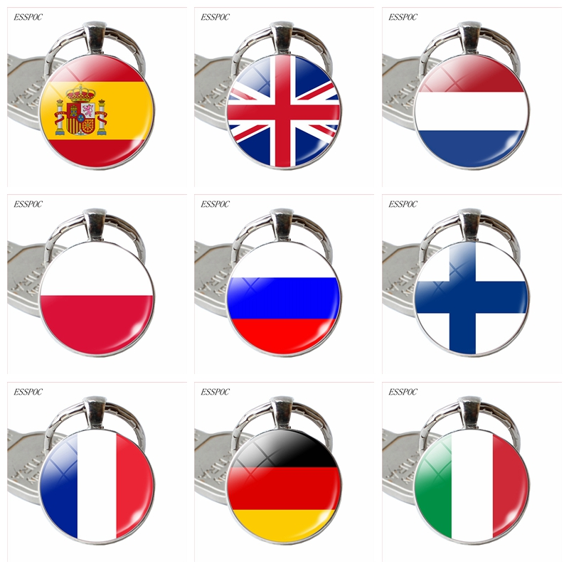 Europe Country United Kingdom France Italy Spain Poland.Netherlands Russia Ireland Flag Keychain Keyring Flag Pendant Key Rings
