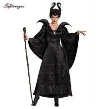 Фильм Костюм малефисенты Хэллоуин злой ведьмы Одежда Косплей маскарадный наряд для взрослых женщин темный королева фантазийный платье