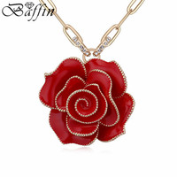 Hot Vintage Crystals Rose Flower Pendants Necklaces Gold Plated Long Chain Collier Women Sweater Jewelry
