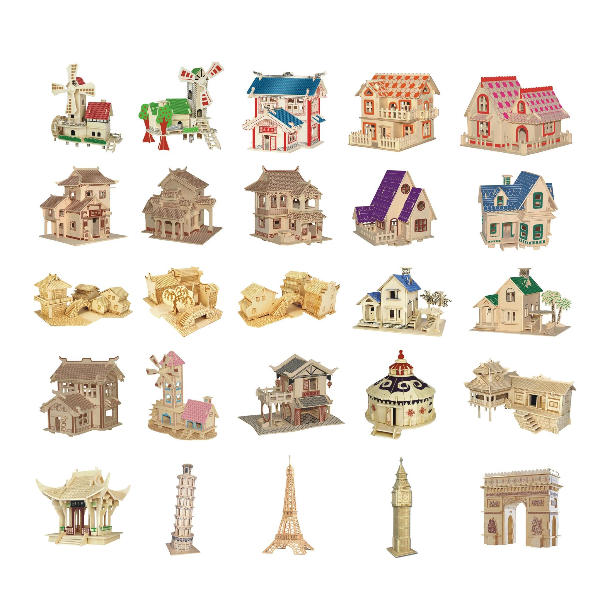 Chanycore baby lernen educational holzspielzeug 3d puzzle haus villa windmühle wasserrad turm chinesische kinder geschenke 4308